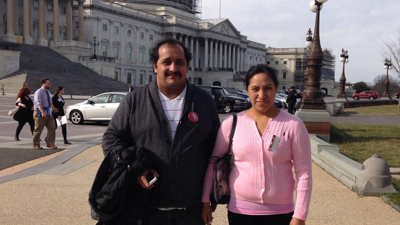 Twin Cities workers Abraham Quevedo and Leticia Zuniga spoke at a Washington, D.C., news conference promoting legislation to prevent wage theft. Photo courtesy of CTUL.