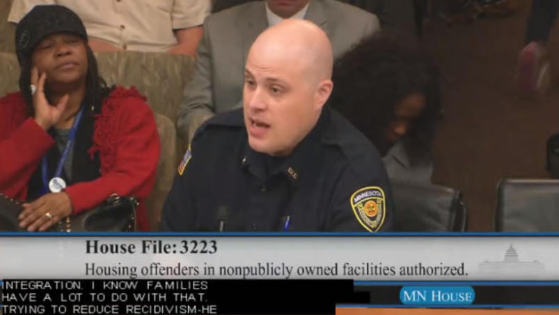 Joe Broge, a corrections officer at Stillwater prison, spoke against legislation that would reopen a for-profit prison. Photo captured from Minnesota House video