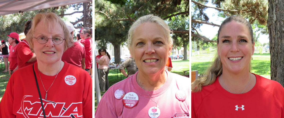 Nurses Linda Lease, Pam Eliason and Cori Wasz say workplace violence is a serious problem on the job. Minneapolis Labor Review photos