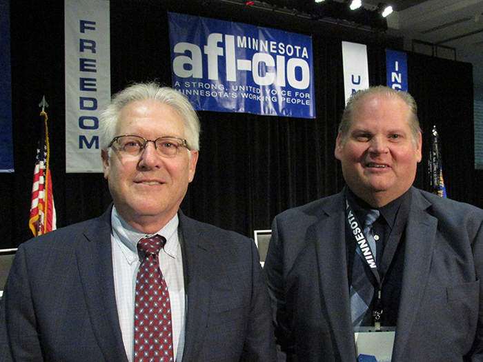 President Bill McCarthy (left) and Secretary-Treasurer Brad Lehto following their election. Photo by Steve Share/Minneapolis Labor Review
