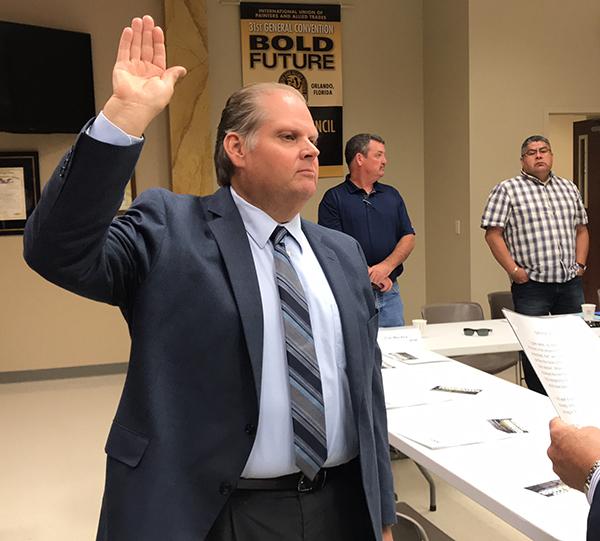 Brad Lehto is sworn in as Minnesota AFL-CIO Secretary-Treasurer.