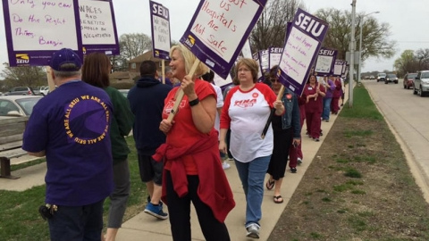 Workers at Mayo Clinic Health System-Albert Lea Hospital say management proposals will be bad for workers, patients and the community. Photo courtesy of SEIU.