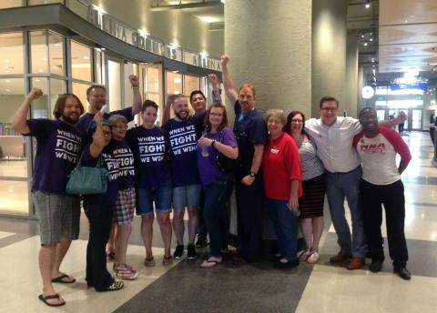 SEIU Healthcare Minnesota and MNA members cheer after SEIU members delivered a letter to Allina Health headquarters. Workday Minnesota photo