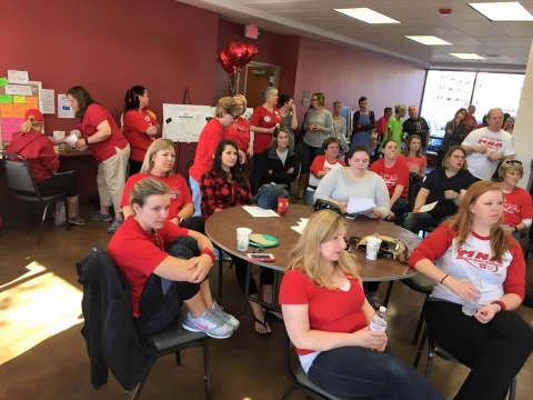 Members of the Minnesota Nurses Association discussed the latest proposal from Allina Health prior to Monday's vote. Photo courtesy of MNA
