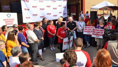MNA Executive Director Rose Roach announces nurses have notified Allina that their open-ended strike will begin on Labor Day. Union Advocate Photo