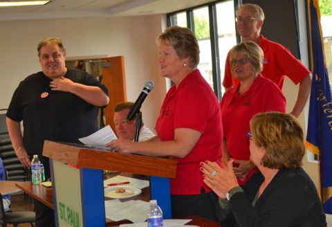 Barb Swenson, a German teacher in the North Branch Area Schools, thanked delegates to the St. Paul Regional Labor Federation for their support in the successful referendum campaign.