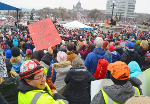 D Rojas, a member of Carpenters Local 322, attended the Women's March in Minnesota a day after Donald Trump's inauguration with several other Minnesota union tradeswomen.